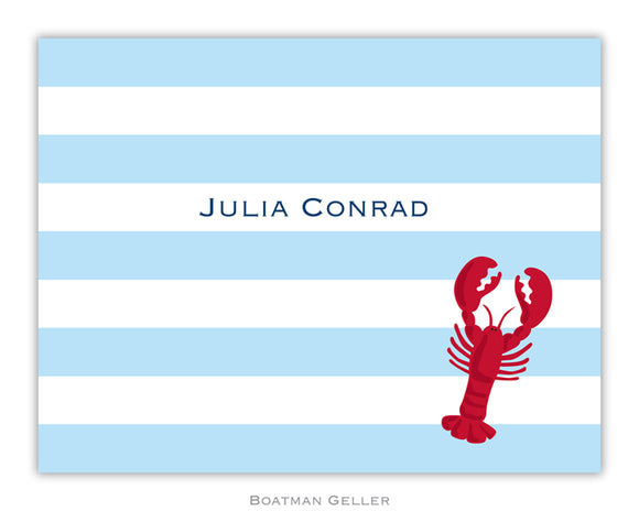Stripe Lobster Foldover Notecard