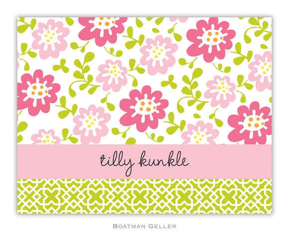 Block Meadow Pink Foldover Notecard