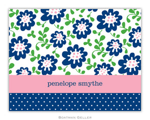 Block Meadow Navy Foldover Notecard