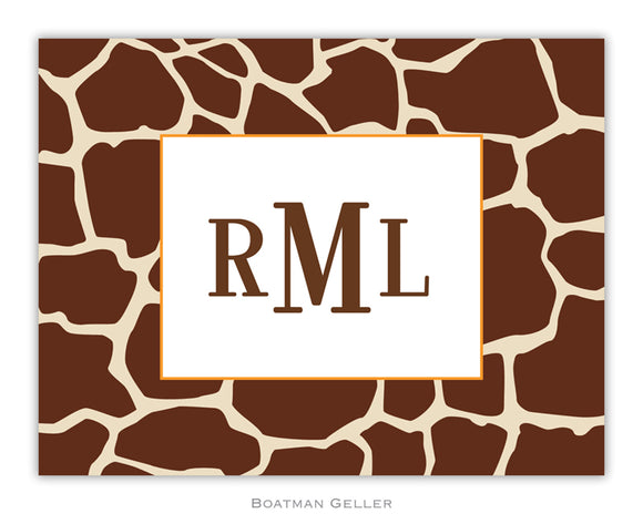 Giraffe Brown Foldover Notecard