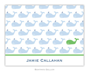 Whale Blue Repeat Foldover Notecard