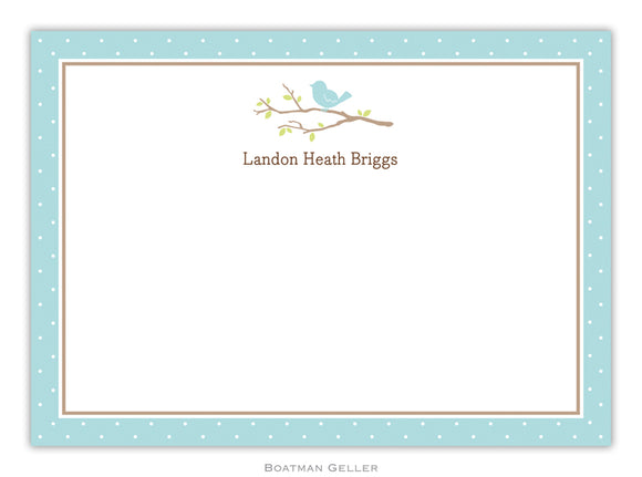 Bird on Branch Blue Flat Card