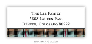 Kelso Plaid Mocha Personalized Address Label
