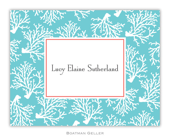 Coral Repeat Teal Foldover Notecard