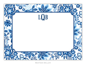 Classic Floral Blue Flat Card