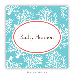 Coral Repeat Teal Personalized Stickers