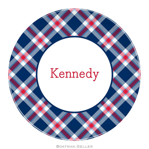 Ashley Plaid Navy Plate