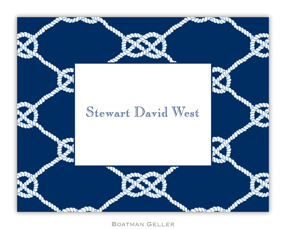 Nautical Knot Navy Foldover Notecard