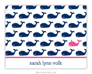 Whale Navy Repeat Foldover Notecard
