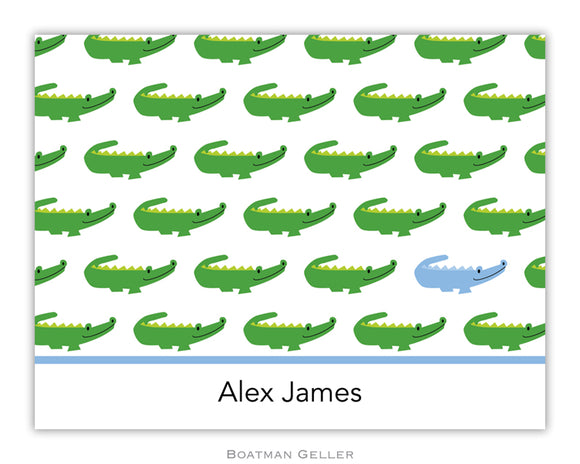 Alligator Repeat Blue Foldover Notecard
