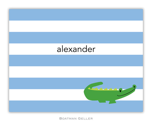 Alligator Stripe Blue Foldover Notecard