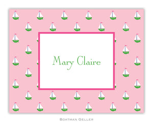 Little Sailboat Pink Foldover Notecard