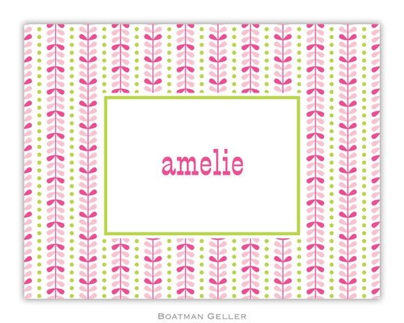 Bright Vine Pink & Green Foldover Notecard