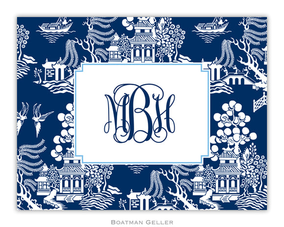 Chinoiserie Navy Foldover Notecard