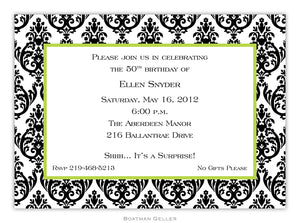 Madison Damask White with Black Flat Card