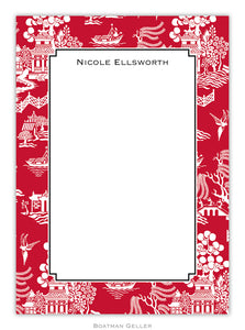 Chinoiserie Red Flat Card