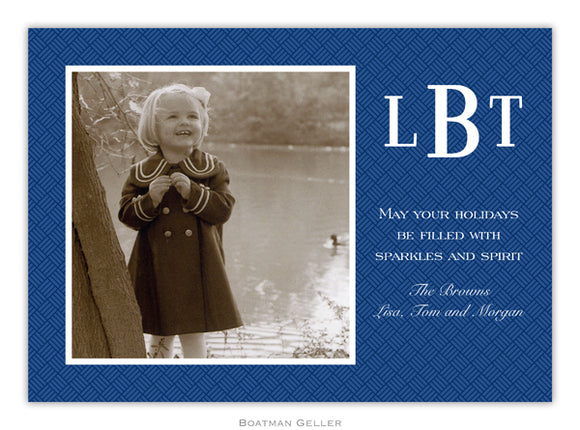Basketweave Navy Photo Cards