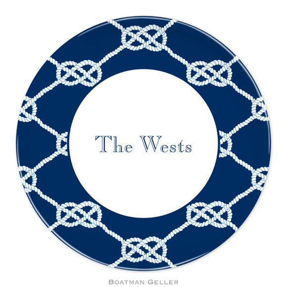 Nautical Knot Navy Plate