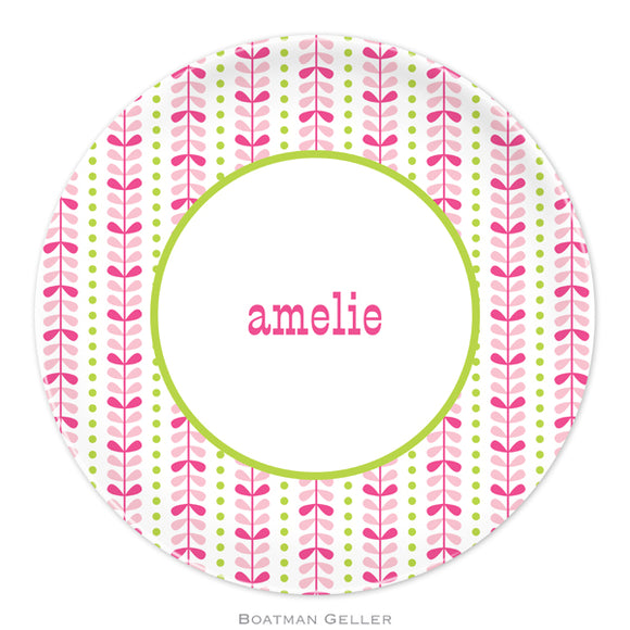 Bright Vine Pink & Green Plate