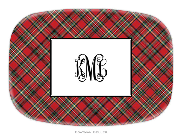 Plaid Red Personalized Platter