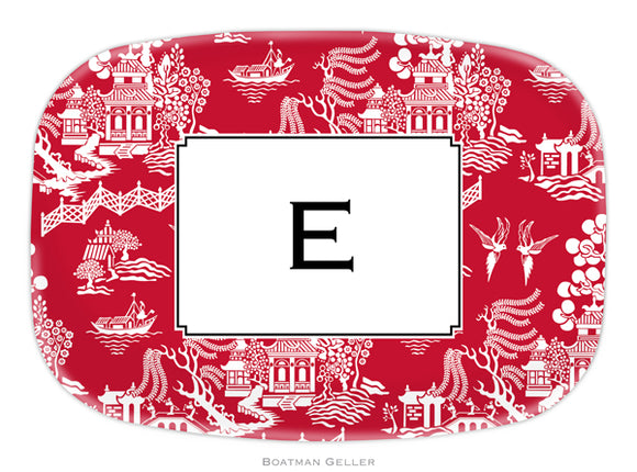 Chinoiserie Red Personalized Platter