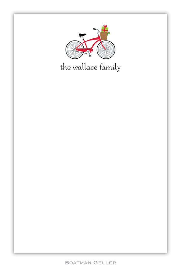 Bicycle Holiday Personalized Holiday Notepad