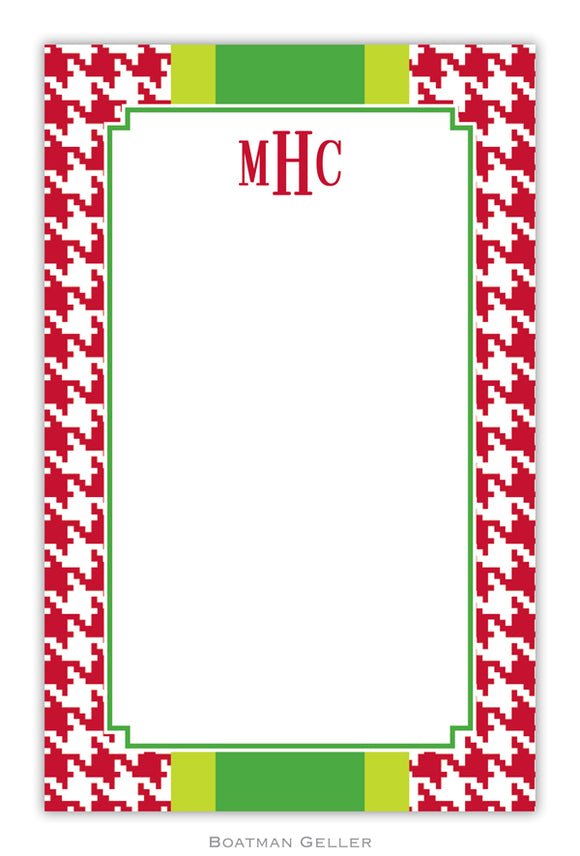 Alex Houndstooth Red Personalized Holiday Notepad
