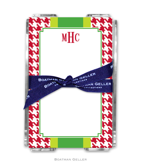 Alex Houndstooth Red Personalized Holiday Notesheets with Acrylic