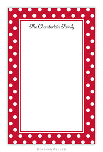 Polka Dot Cherry Personalized Holiday Notepad