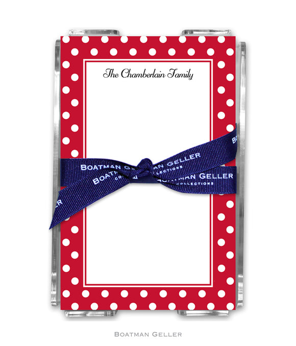 Polka Dot Cherry Personalized Holiday Notesheets with Acrylic