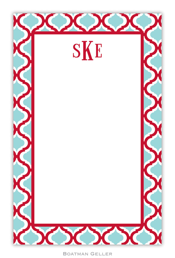 Kate Red & Teal Personalized Holiday Notepad