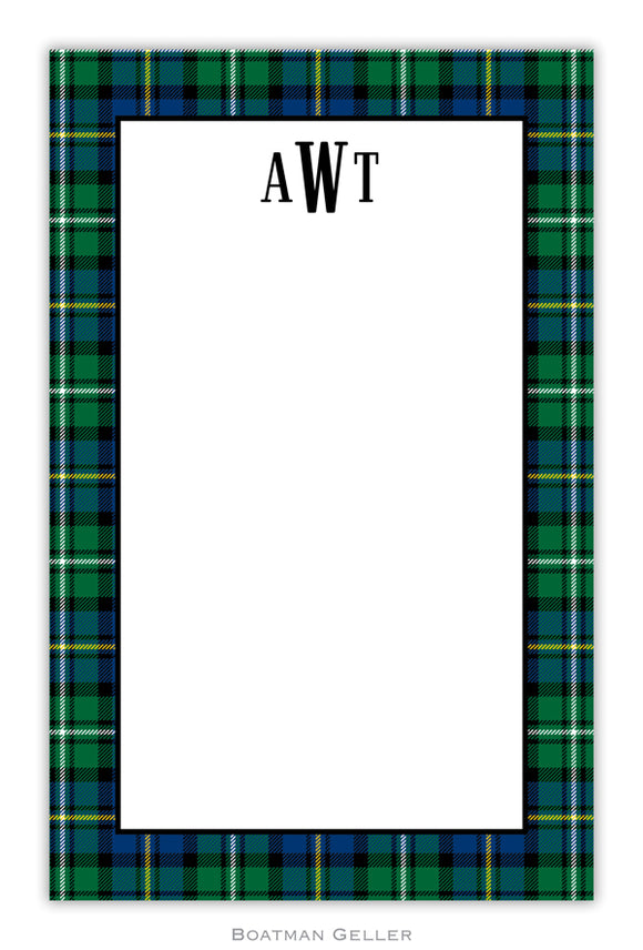 Black Watch Plaid Personalized Holiday Notepad