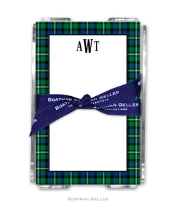 Black Watch Plaid Personalized Holiday Notesheets with Acrylic