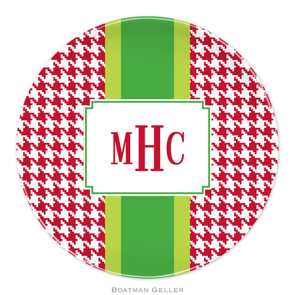 Alex Houndstooth Red Personalized Plate