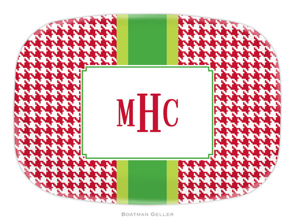 Alex Houndstooth Red Personalized Platter