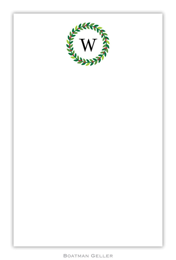 Wreath Personalized Holiday Notepad