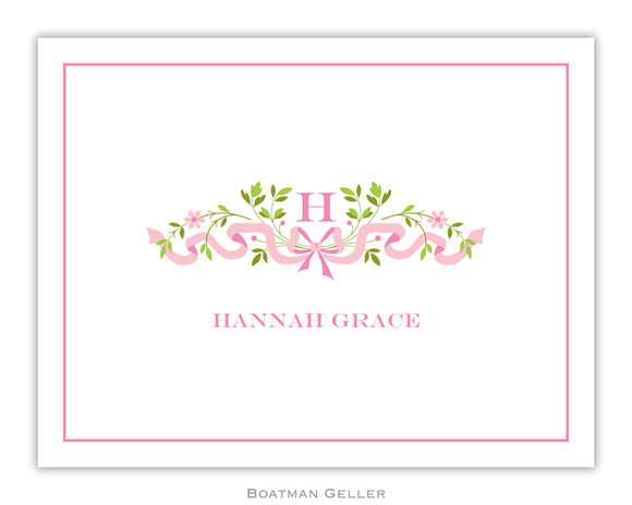Ribbon Pink Foldover Notecard