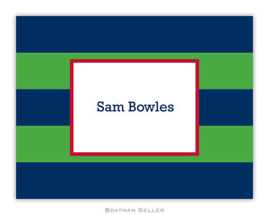 Rugby Navy & Kelly Foldover Notecard