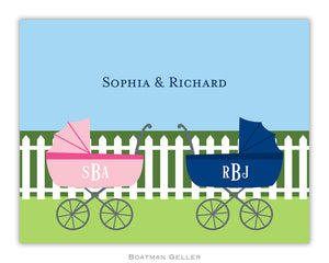 Charming Pram Twins Foldover Notecard