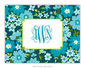 Caroline Floral Turquoise Foldover Notecard