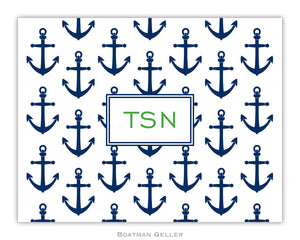 Anchors Navy Foldover Notecard
