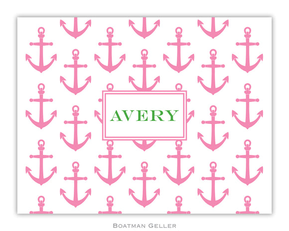 Anchors Pink Foldover Notecard