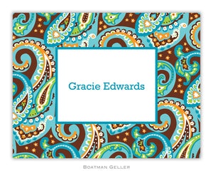 Ellie Paisley Turquoise & Brown Foldover Notecard