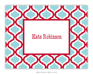 Kate Red & Teal Foldover Notecard