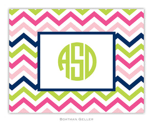 Chevron Pink, Navy & Lime Foldover Notecard