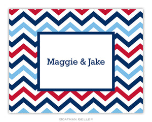 Chevron Blue & Red Foldover Notecard