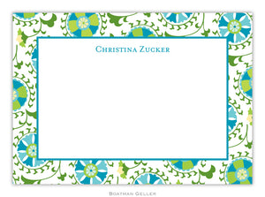 Suzani Teal Flat Card