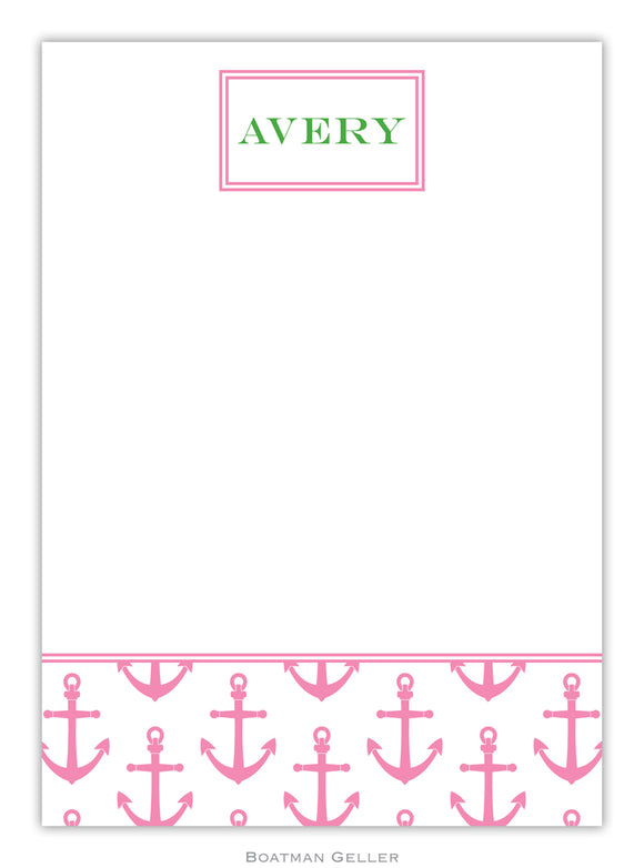 Anchors Pink Flat Card
