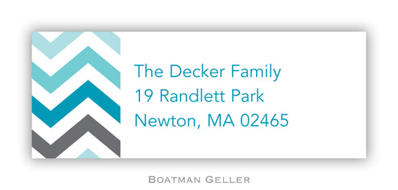 Chevron Ombre Teal Personalized Address Label