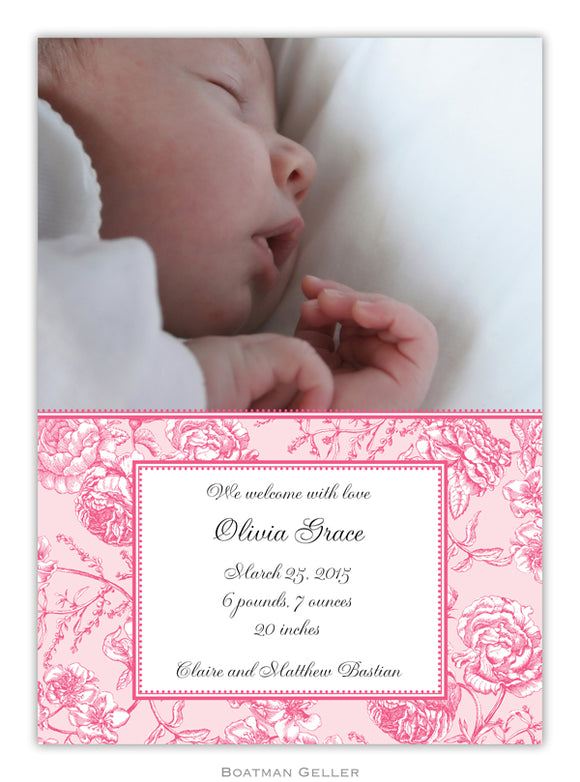 Floral Toile Pink Photocard